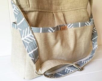 Linen and Gray Arrow Girl or Boy Diaper Bag