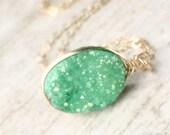 Gold Druzy Necklace, Green Druzy Natural Druzy