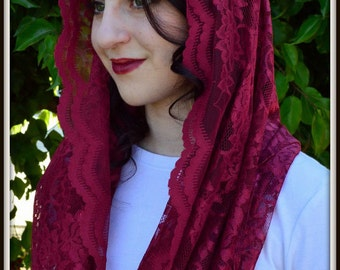 Catholic Veil  ~Orthodox Christian Headcovering -EV1W -The Infinity Scarf Mantilla Veil Original, in Merlot