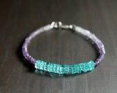 Amethyst and Apatite Gemstone Bracelet, Amethyst Bracelet, Apatite Bracelet, Purple and Aqua, Ombré Bracelet, Tiny Gemstone Bracelet, Gift
