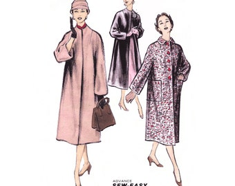 "1955 Easy Coat Pattern, 1 Main-pc for Coat Body, Jewel Neckline or Collar, Large Patch Pockets, Closure Options, Advance 8122 Bust 36"" Uncut"