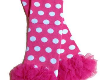 Hot Pink Polka Dot Leg Warmers, Hot Pink Ruffle Leg Warmers, Girls Leg Warmers, Baby Leg Warmers, Toddler Leg Warmers, Infant Leg Warmers