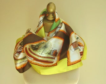 SYDNEY scarf, Australian souvenir, vintage travel scarf, Australia scarf, bright square scarf, funky scarves