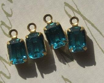 Swarovski Crystal Blue Zircon Rhinestone 11MM Brass Connector Rectangle