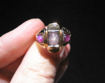 Antique Vintage 12 kt Rose Gold Natural Lavender Star Sapphire Ruby Band Ring Unisex Size 9