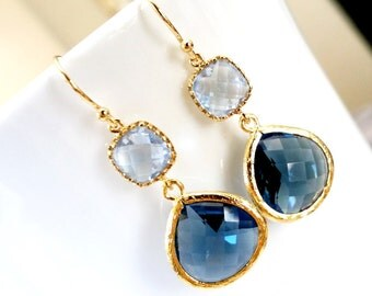 Blue Bridal Earrings Navy Blue Earring, Sapphire Dangle Earrings, Drop Earrings -Wedding Earrings,bridesmaid gifts,Navy wedding Earrings