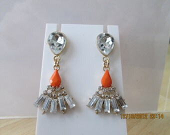 Post/ Stud Earrings with Clear Crystal and Rhinestone Beads and an Orange Teardrop Bead