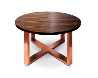 Dining Table Baula. Walnut Veneer Dining Table With Copper Or Brass Legs.  Ebony Furniture