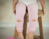 Baby Girl Leg Warmers Pink Gold Glitter Crown Princess Leggings Baby Girl Clothes Photo Prop Newborn Baby Toddler Sizes
