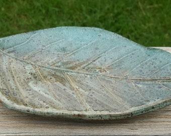 Green Ceramic Leaf Dish, Handmade Stoneware Pottery