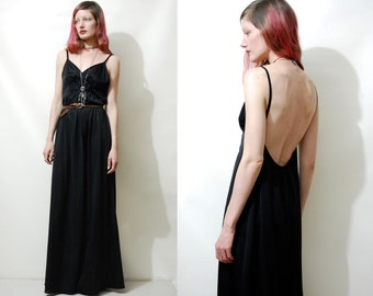 70s Vintage BLACK SLIP Dress Long Maxi Low Open Back Shirred Lingerie Bohemian Boho Grunge Gypsy 1970s vtg S-M