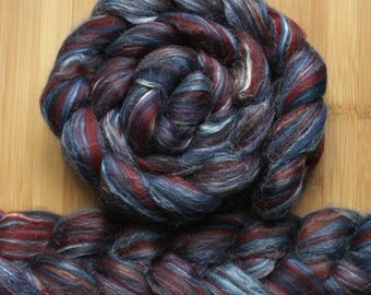 "Merino Silk 'GLISTEN Roving' in ""4th of July"" colorway - Blue, maroon red, white blend - Spinning Felting Braid Fiber"