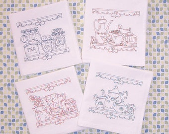 Flour Sack Embroidered Set of Vintage Old Fashioned Kitchen Designs