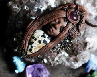 Tree Nymph Necklace with Dalmation Jasper and Amethyst Gemstone Handcrafted Clay by TRaewyn.
