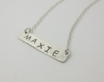 Bar Necklace, Name Bar Necklace, Hand Cut, Hand Hammered, Hand Stamped, Sterling Silver, Gold Fill