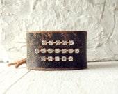 Repurposed Vintage Rhinestone Leather Cuff/Boho Glam Cuff/Rustic Modern/Minimalist Cuff/Indie Jewelry/Boho Chic/Vintage Rocker/Western Glam