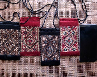 Embroidered Silk Mirrorwork iPhone cases - Black/Brown and Red/Beige