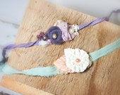 Faith and Grace  - dainty tieback set in dusty purple, lavender, plum, cream, sage, salmon pink, white with hints of gold and silver (RTS)