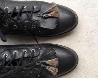 Vintage VTG Black Leather Lace Up Fringe ARIAT Combat Riding Boots // Women's size 5.5 6