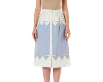 1990s Interestingly Detailed Louis Féraud Cotton Skirt SIZE: S, 4