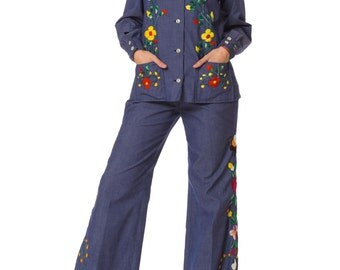 Vintage Late 1960s Hand Embroidered Denim Suit Set Size: XS