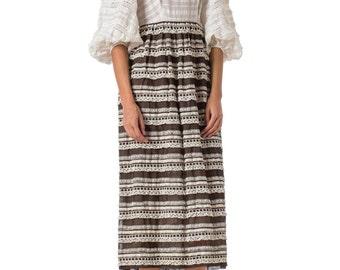 1970s Cotton Lace Crochet Embellishments Bishop Sleeve Dress