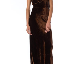 1930s Bias Cut Brown Velvet Gown SIZE: S, 2