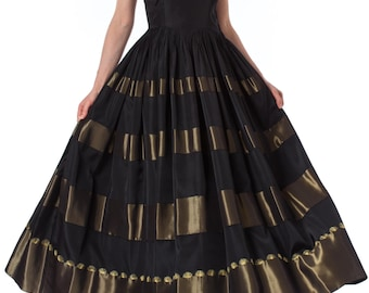 1930s Black and Gold Embroidered Detail Strappy Dress SIZE: XS, 0/2