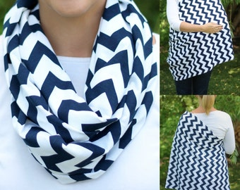 Navy Chevron Hold Me Close Nursing Scarf, Infinity Scarf, Nursing Cover