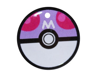 Master Ball Pokemon Pokeball Pet ID tag  - Customizable - Name and Number on Back - 3 Sizes in Metal or Resin - For Cat or Dog - Kawaii Cute