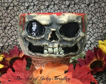 MEDIUM CERAMIC BOWL -Wheel thrown, hand altered & sculpted. A friendly face to hold popcorn, cereal, soup or your favorite candy.  CBM2