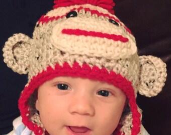 Sock Monkey Ear Flap Hat