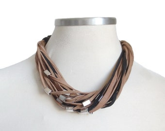 Brown and Black Leather Bib Necklace, Beaded Leather Necklace, Leather and Beads Multistrand Necklace, Leather Jewellery