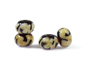 Golden Ivory Cream Root Beer Brown Glass Lampwork Beads, 8x12mm Lampwork Beads, Warm Colors, Golden Ivory Swirl Glass Lampwork Beads