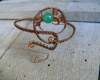 Nephrite Wire Wrapped Bracelet, Copper Bracelet, Wire Wrapped Bangle, Wire wrapped jewelry, Copper Cuff Bracelet, Copper arm cuff