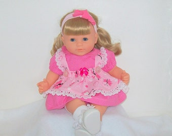 Happy Valentines Day Pink Valentine Baby Doll Butterfly Pinafore Dress - with matching Pink Polk a Dots Dress -for Modern Baby Dolls, availa