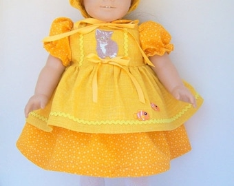 Happy Valentines Day Goldfish Pinafore 4 Piece Doll outfit for Dolls 17 to 18 Inches.
