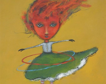 """Title:"""" Furry Twirls Her Hula Hoops"""" -- 8.5"""" x 11""""        Archival print made from my original acrylic painting."""