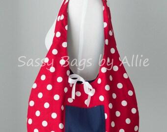 Reversible Tote Bag Red Polka Dots & Nautical Navy Blue-Fold Up Market Bag