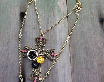Embellished Cross Necklace/Victorian/Edwardian/Multi Strand