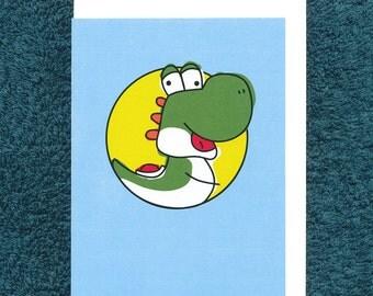 Yoshi Card Birthday Blank Nintendo Greeting Child Derpy Video Game