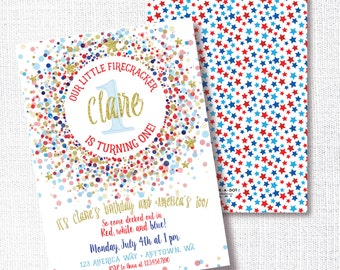 OUR LITTLE FIRECRACKER red white and blue patriotic 4th of July birthday party invitation memorial day labor  4th of july confetti gold star