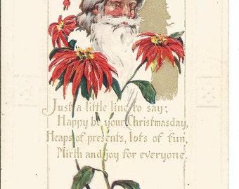 Santa Claus Poinsetta 1924 Vintage Christmas Postcard Holiday Greeting