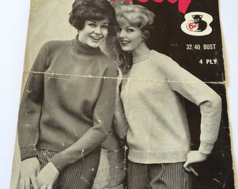 Wendy vintage 1960s knitting pattern no.172 crew polo neck turtleneck English