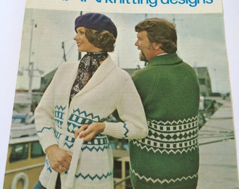 Lister Lee Target 592 vintage 1970s knitting pattern jacket cardigan his n hers