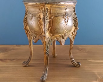 Vintage French Jewel Trinket Box Gilt Spelter Chest in Louis XV style