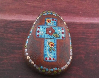 Bohemian Gypsy cross stone hand painted garden decor paperweight