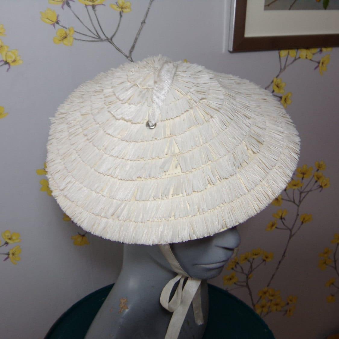 Coolie Hat: Vintage Cone Hat 1950s Child Size Hat Coolie Hat Asian Style