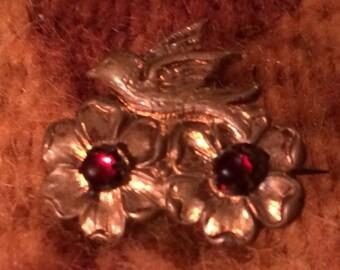 Sweet Antique Victorian Bird & Blossoms Brooch Pin