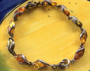 Vintage Sterling Silver & Amber Link Bracelet